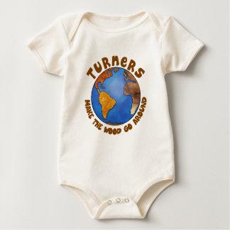 Turners Globe Funny Woodturning Earth Baby Bodysuit