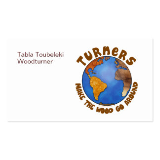 Turners Globe Funny Woodturning Earth Double-Sided Standard Business Cards (Pack Of 100)