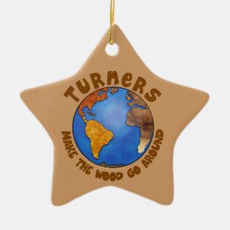 Turners Globe Funny Woodturning Earth Ceramic Ornament