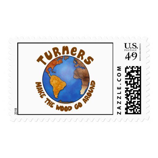 Turners Globe Funny Woodturning Earth Postage Stamp