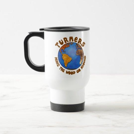 Turners Globe Funny Woodturning Earth Travel Mug