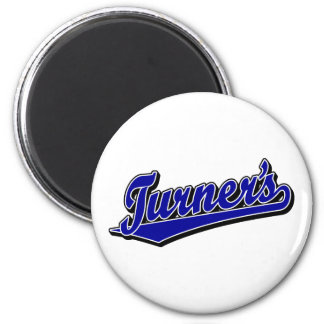 Turner's script logo in Blue 2 Inch Round Magnet