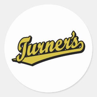 Turner's script logo in Gold Classic Round Sticker