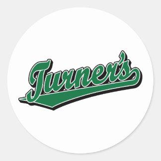 Turner's script logo in Green Classic Round Sticker