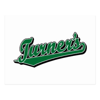 Turner's script logo in Green Postcard