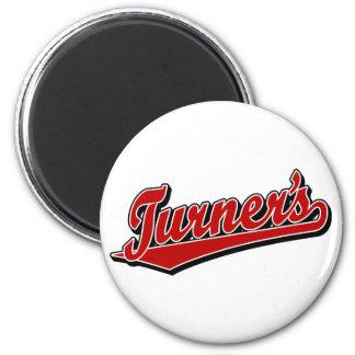 Turner's script logo in red magnet
