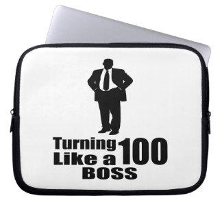 Turning 100 Like A Boss Computer Sleeve