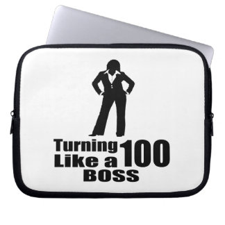 Turning 100 Like A Boss Laptop Sleeve