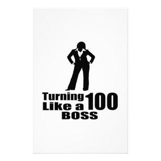 Turning 100 Like A Boss Stationery