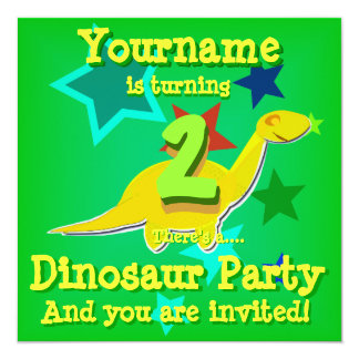 "Turning 2 Birthday Dinosaur Party Invitations 5.25"" Square Invitation Card"
