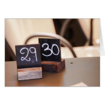 Turning 30 Birthday Italian Restaurant Numbers Card