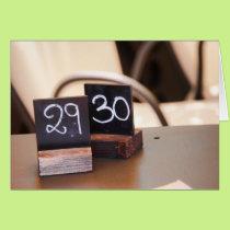 Turning 30 Birthday Italian Restaurant Numbers Card