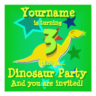"Turning 3 Birthday Dinosaur Party Invitations 5.25"" Square Invitation Card"