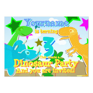 Turning 3 Dinosaurs Birthday Party Invites