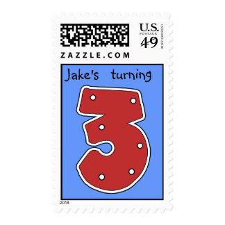 Turning 3 postage