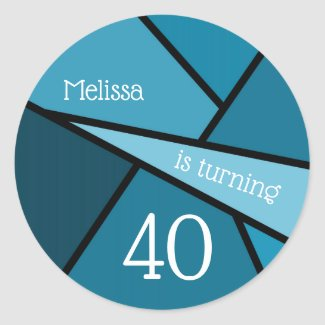 Turning 40 Abstract Teal Geometric 40th Birthday Classic Round Sticker