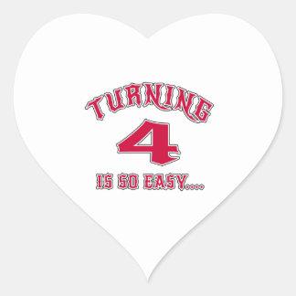 Turning 4 Is So Easy Birthday Heart Sticker