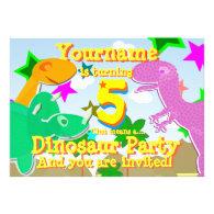 Turning 5 Dinosaur Birthday Party Invitations