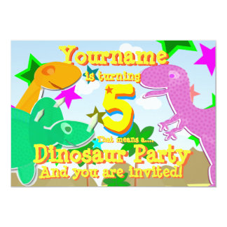 Turning 5 Dinosaur Birthday Party Invitations