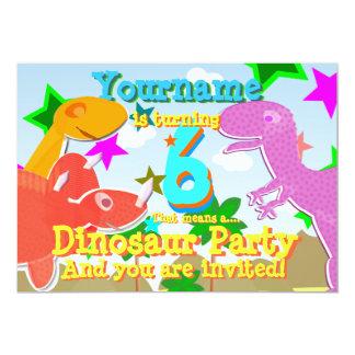 Turning 6 Dino Birthday Party Invites
