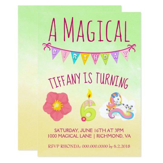 Turning 6 Years Old Unicorn Theme Birthday Party Invitation