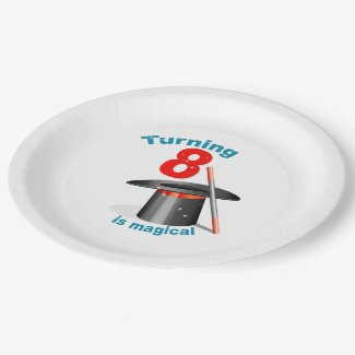 Turning 8 is Magical 8th Birthday Paper Plate