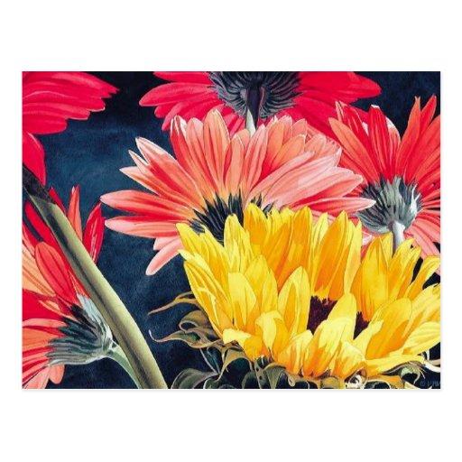 """Turning Away"" Flower Art Postcard"