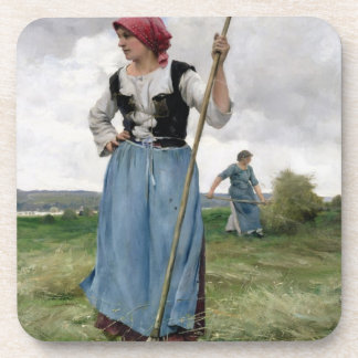 Turning the Hay (oil on canvas) Drink Coaster