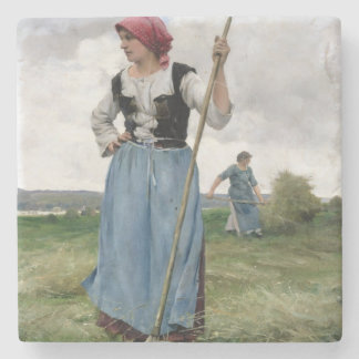 Turning the Hay (oil on canvas) Stone Beverage Coaster