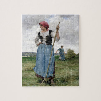 Turning the Hay (oil on canvas) Jigsaw Puzzle