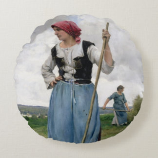 Turning the Hay (oil on canvas) Round Pillow