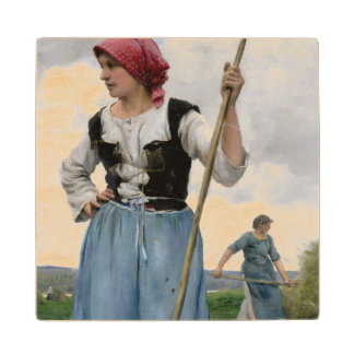 Turning the Hay (oil on canvas) Wooden Coaster