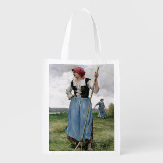 Turning the Hay (oil on canvas) Reusable Grocery Bags