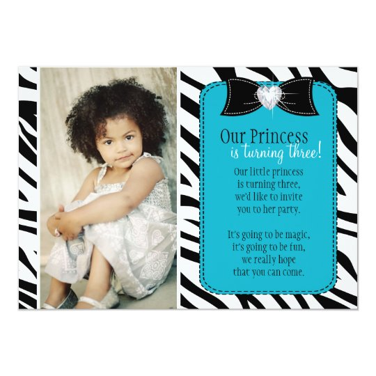 Turning Three - Zebra Birthday Party Invitation