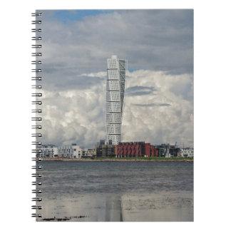 Turning torso beach malmö sweden spiral notebook