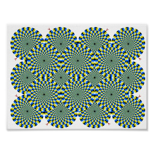 Turning Wheels Optical Illusion Green Hypnotize Posters