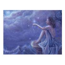 faery, fantasy, digital, art, moon, snow, winter, esbat, wicca, Cartão postal com design gráfico personalizado