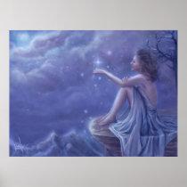 faery, fantasy, digital, art, moon, snow, winter, esbat, wicca, Cartaz/impressão com design gráfico personalizado