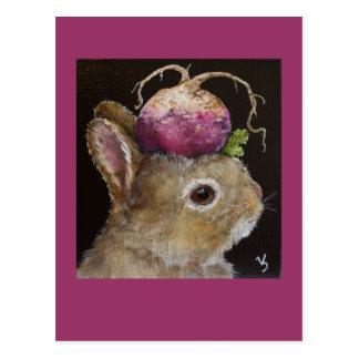turnip baby bunny  postcard