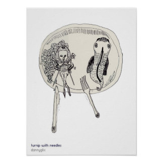 Turnip on a plate with needles poster