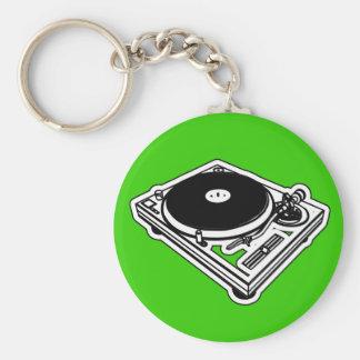 Turntable Basic Round Button Keychain