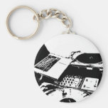 turntable black and white basic round button keychain