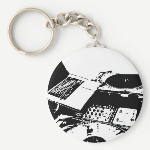turntable black and white keychain