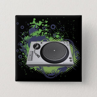 turntable deejay  vector pinback button
