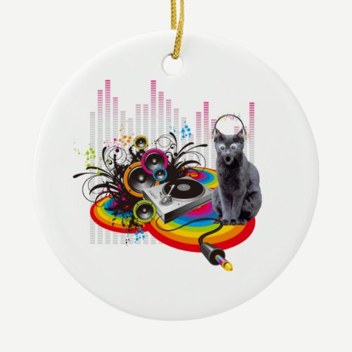Turntable DJ Pumpin Music Cat Ceramic Ornament