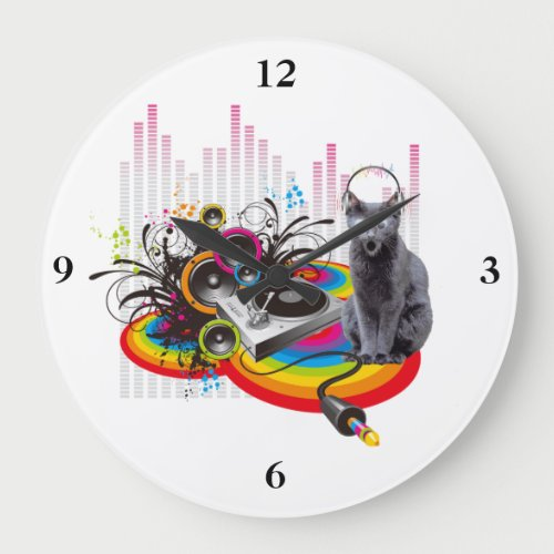 Turntable DJ Pumpin Music Cat Large Clock