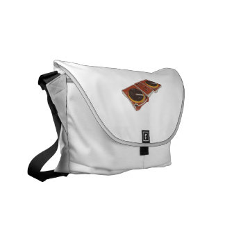 Turntable Double DJ Grunged Graphic Courier Bag