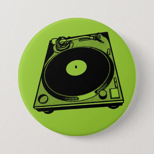 Turntable Graphic Pinback Button