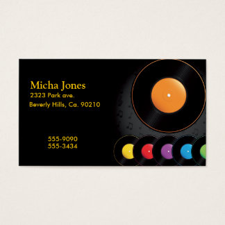 Turntable Records In Vivid Colors Business Card
