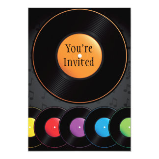 Turntable Records In Vivid Colors Card